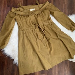 A'reve Dress Mustard Yellow Belted Cold Shoulder